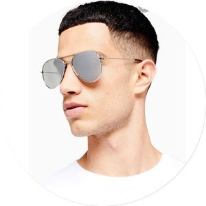 Topman Silver Pilot Sunglasses